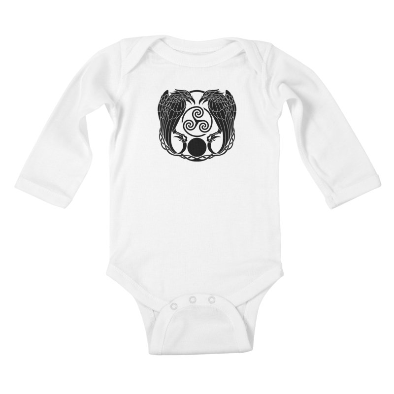 Nine While Nine ~ Black Ravens Logo Kids Baby Longsleeve Bodysuit by The Dark Whimsy Emporium