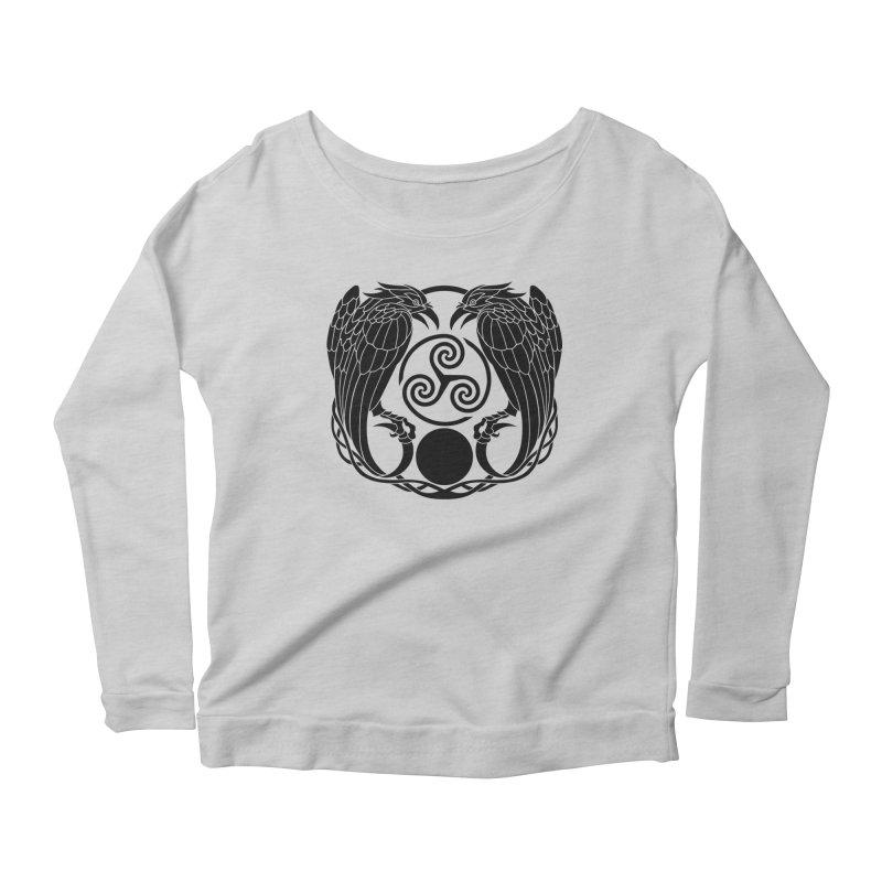 Nine While Nine ~ Black Ravens Logo Women's Scoop Neck Longsleeve T-Shirt by The Dark Whimsy Emporium