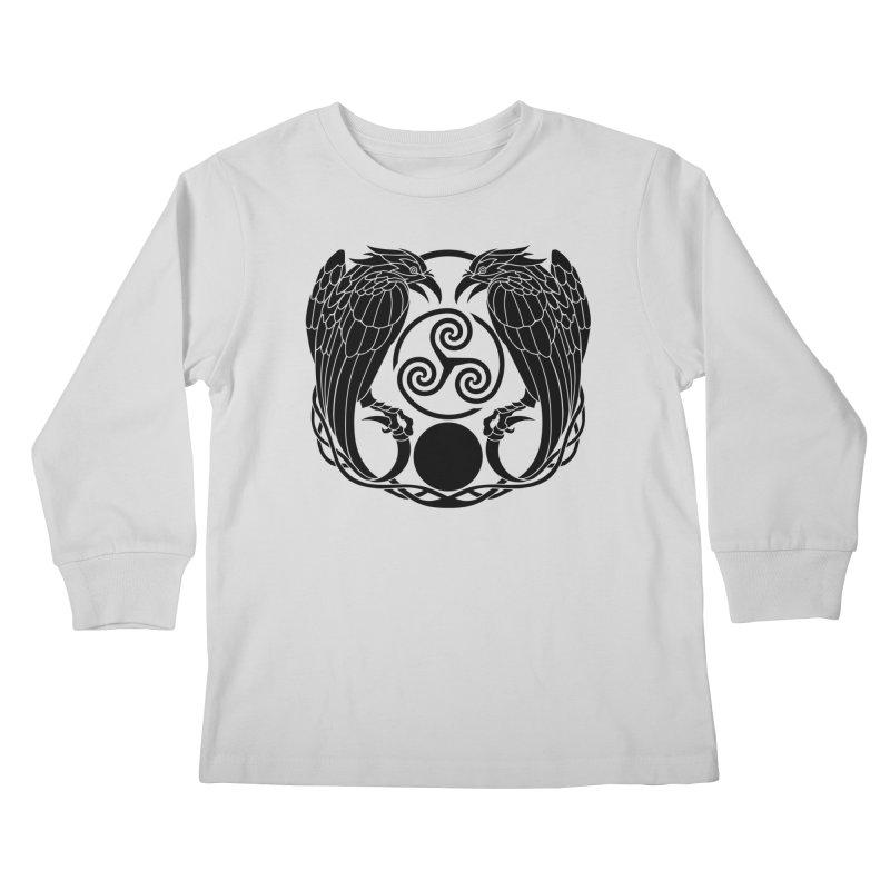 Nine While Nine ~ Black Ravens Logo Kids Longsleeve T-Shirt by The Dark Whimsy Emporium