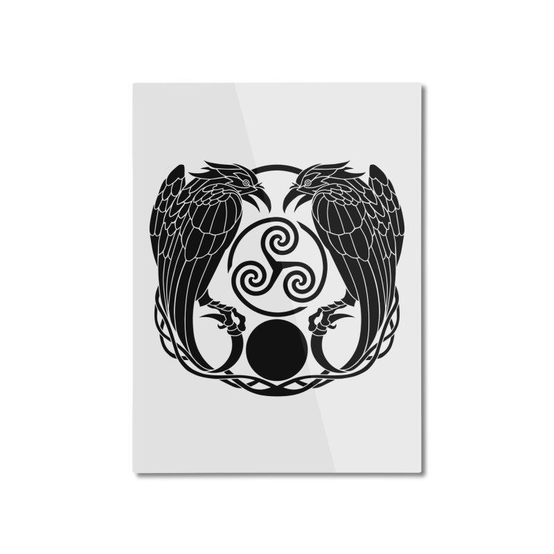 Nine While Nine ~ Black Ravens Logo Home Mounted Aluminum Print by The Dark Whimsy Emporium