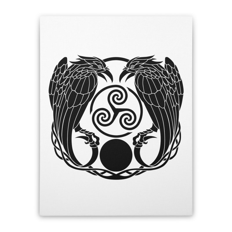 Nine While Nine ~ Black Ravens Logo Home Stretched Canvas by The Dark Whimsy Emporium