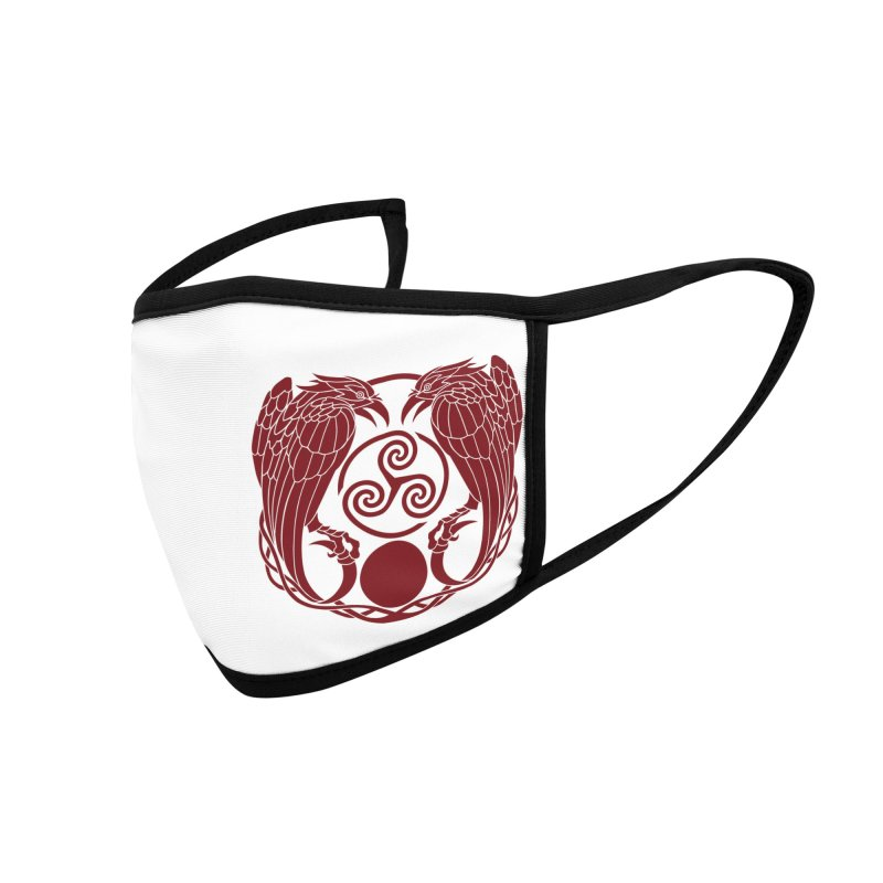 Nine While Nine ~ Red Ravens Logo Accessories Face Mask by The Dark Whimsy Emporium