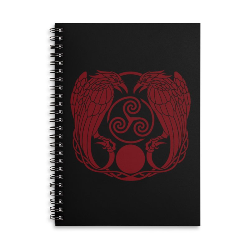 Nine While Nine ~ Red Ravens Logo Accessories Lined Spiral Notebook by The Dark Whimsy Emporium