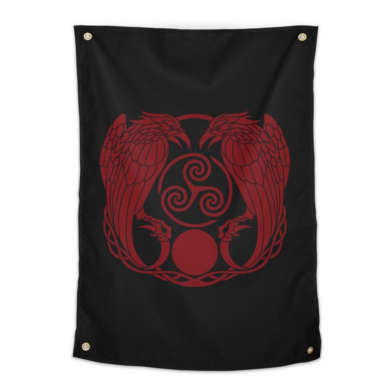 Nine While Nine ~ Red Ravens Logo Home Tapestry by The Dark Whimsy Emporium