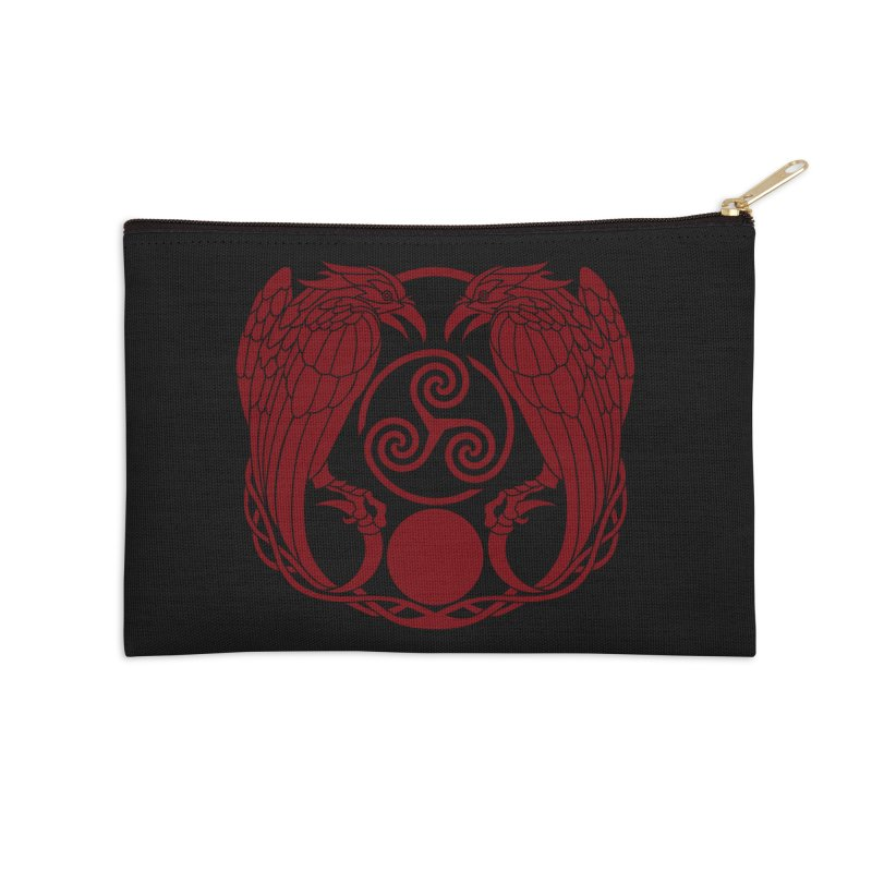Nine While Nine ~ Red Ravens Logo Accessories Zip Pouch by The Dark Whimsy Emporium