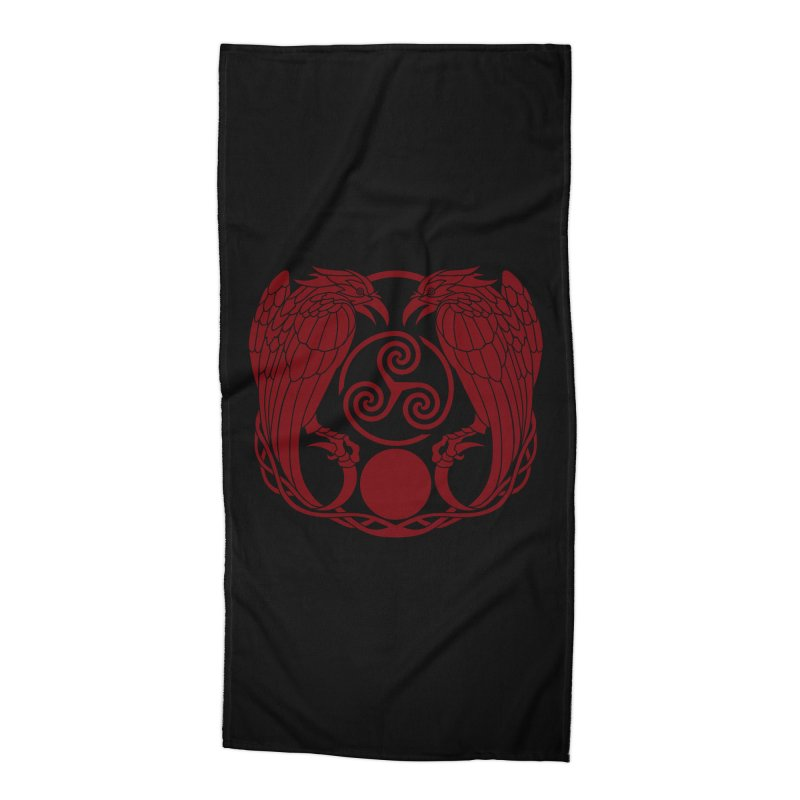 Nine While Nine ~ Red Ravens Logo Accessories Beach Towel by The Dark Whimsy Emporium