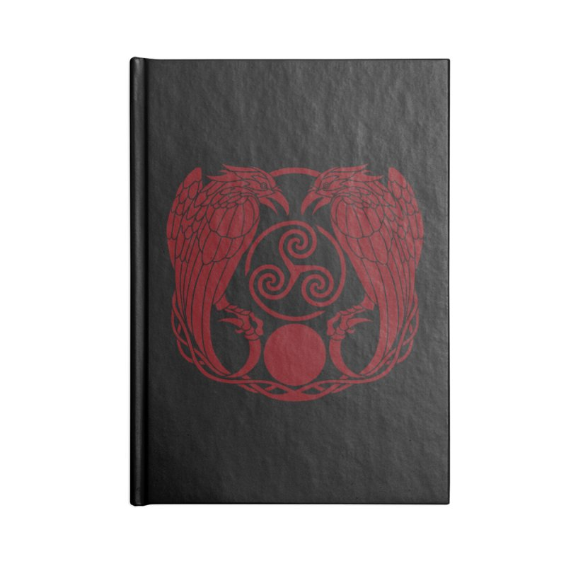 Nine While Nine ~ Red Ravens Logo Accessories Lined Journal Notebook by The Dark Whimsy Emporium