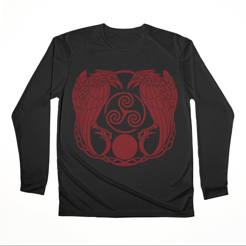 Nine While Nine ~ Red Ravens Logo Women's Performance Unisex Longsleeve T-Shirt by The Dark Whimsy Emporium