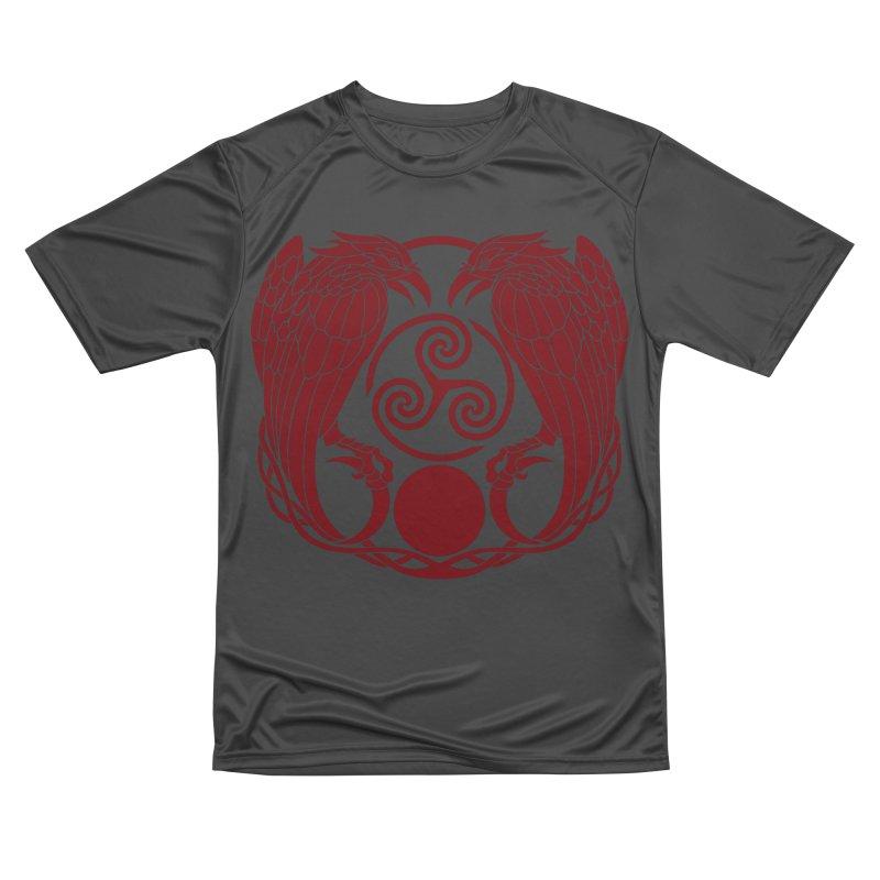 Nine While Nine ~ Red Ravens Logo Men's Performance T-Shirt by The Dark Whimsy Emporium