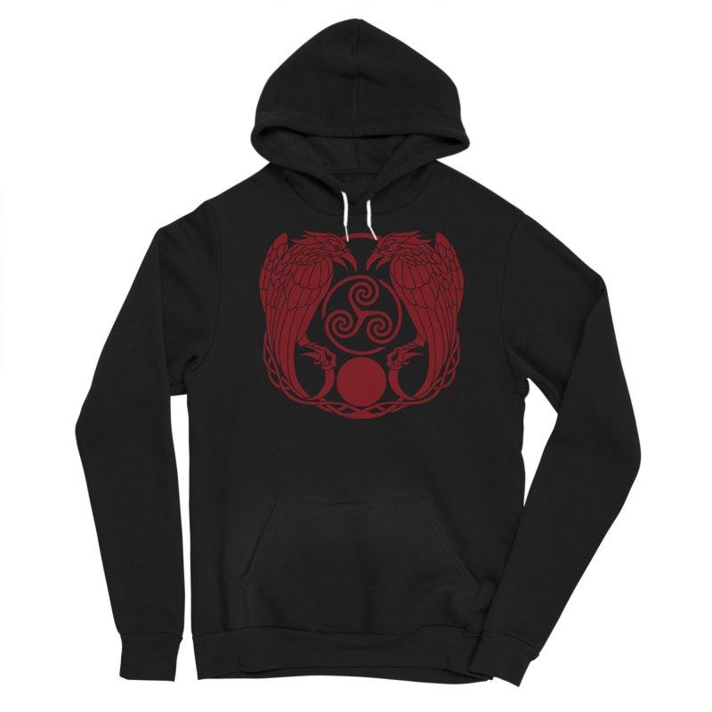Nine While Nine ~ Red Ravens Logo Men's Sponge Fleece Pullover Hoody by The Dark Whimsy Emporium