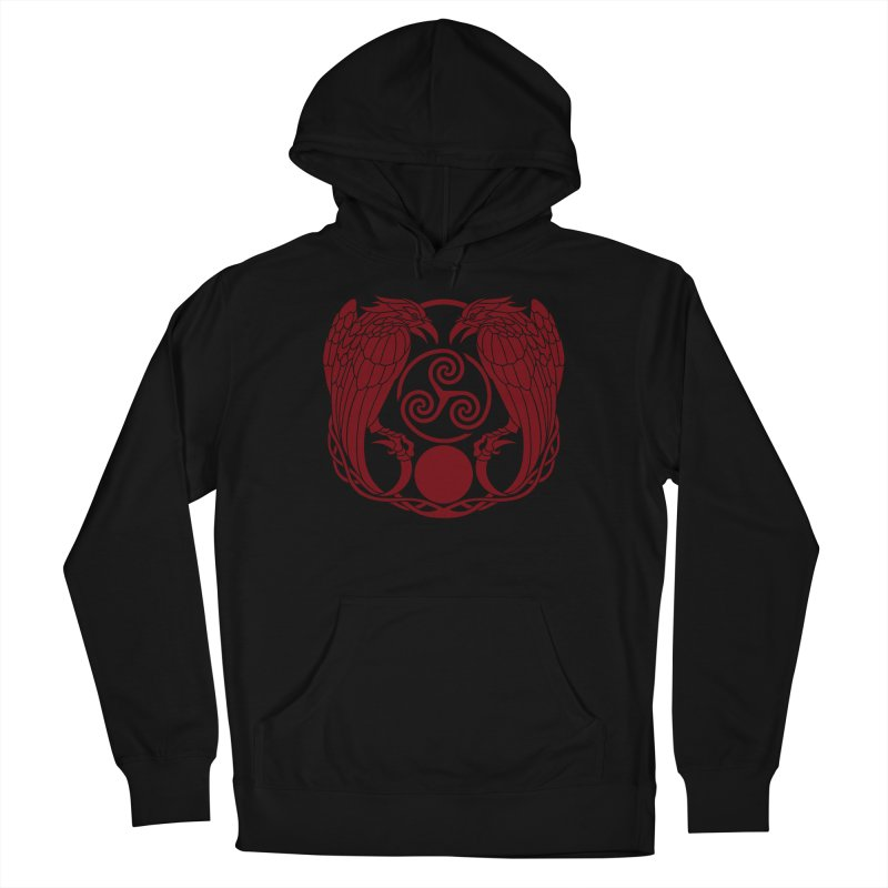 Nine While Nine ~ Red Ravens Logo Men's French Terry Pullover Hoody by The Dark Whimsy Emporium