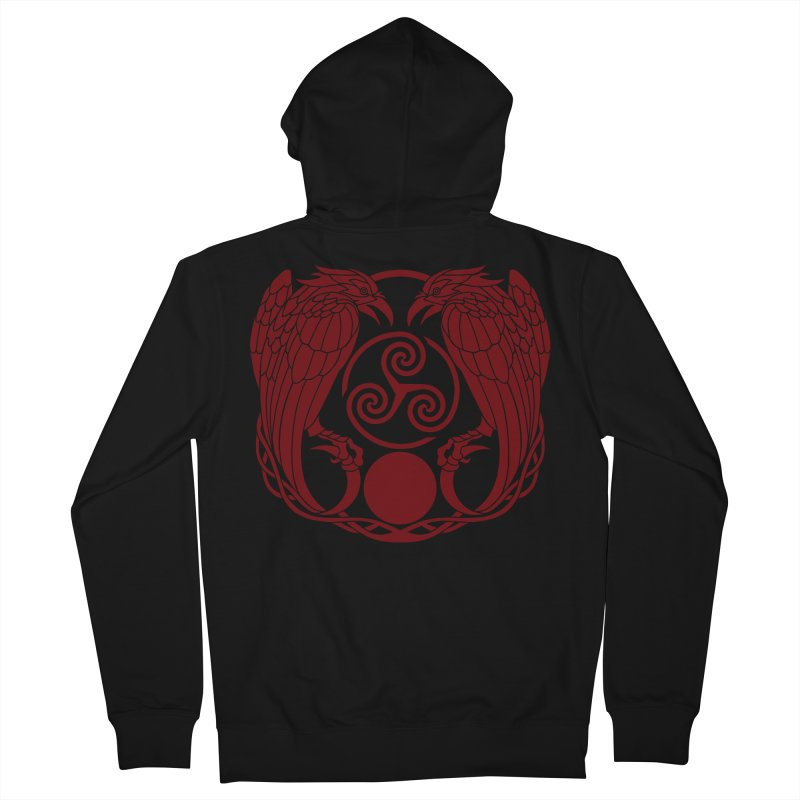 Nine While Nine ~ Red Ravens Logo Women's French Terry Zip-Up Hoody by The Dark Whimsy Emporium