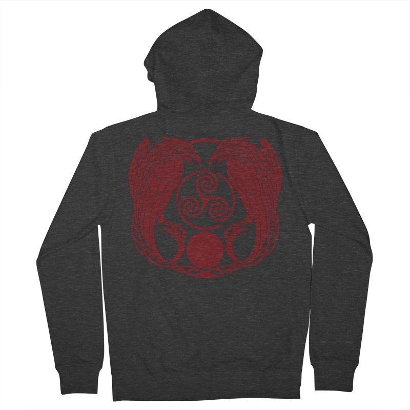 Nine While Nine ~ Red Ravens Logo Men's French Terry Zip-Up Hoody by The Dark Whimsy Emporium