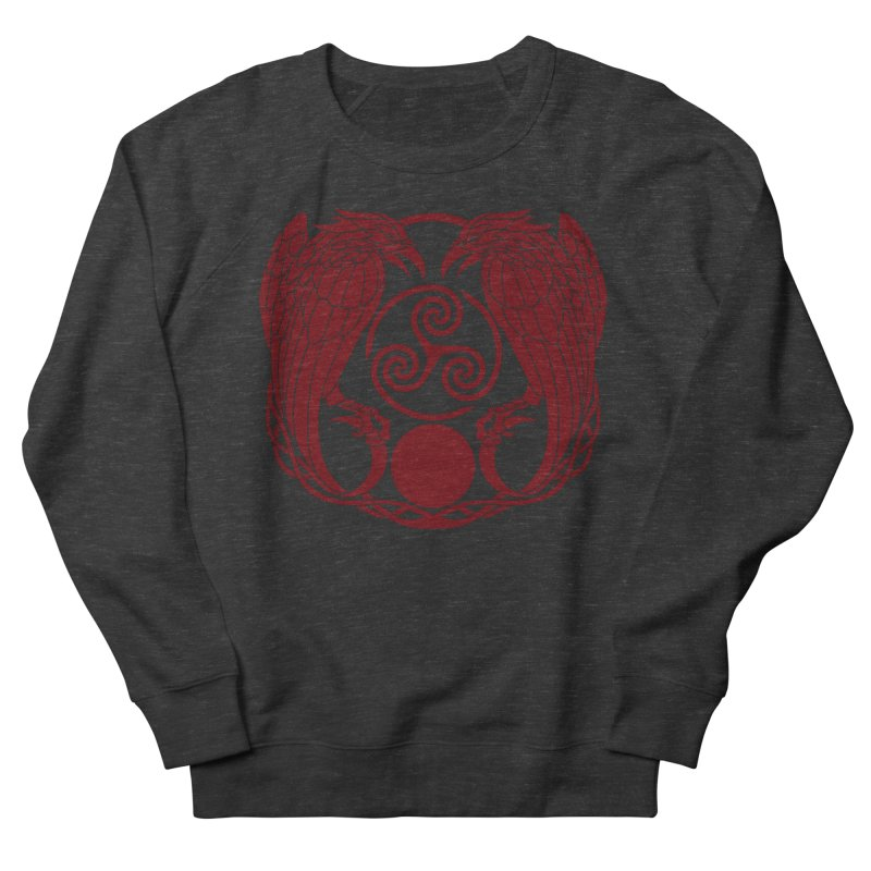 Nine While Nine ~ Red Ravens Logo Men's French Terry Sweatshirt by The Dark Whimsy Emporium