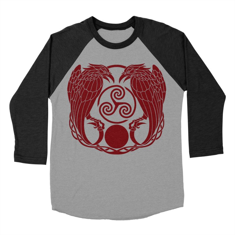 Nine While Nine ~ Red Ravens Logo Men's Baseball Triblend Longsleeve T-Shirt by The Dark Whimsy Emporium