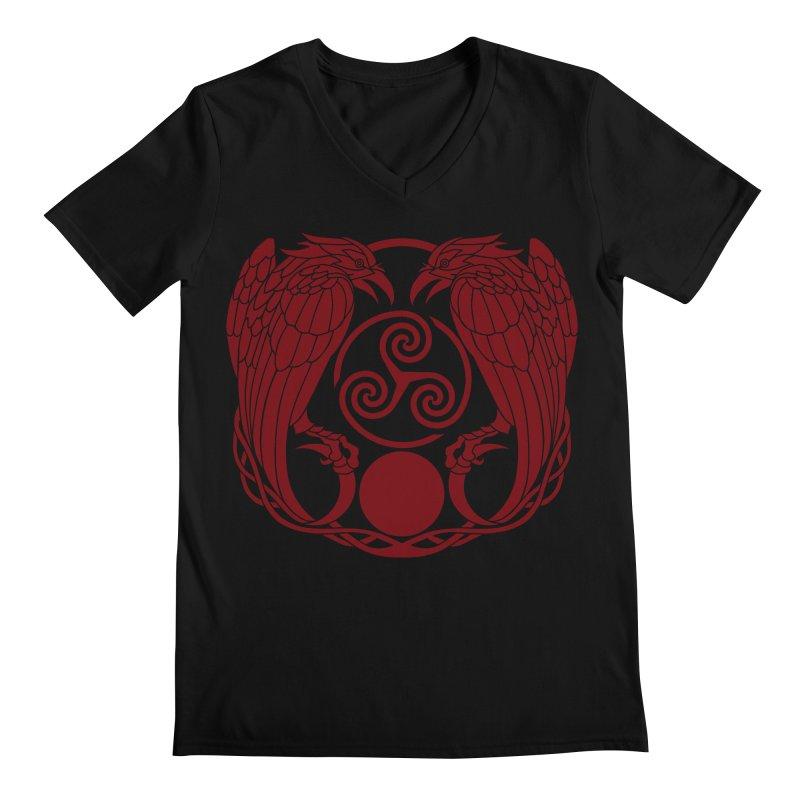 Nine While Nine ~ Red Ravens Logo Men's V-Neck by The Dark Whimsy Emporium