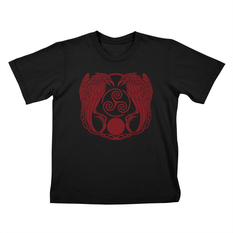 Nine While Nine ~ Red Ravens Logo Kids T-Shirt by The Dark Whimsy Emporium