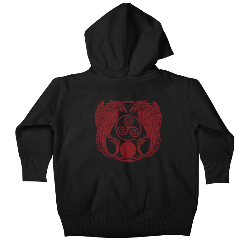 Nine While Nine ~ Red Ravens Logo Kids Baby Zip-Up Hoody by The Dark Whimsy Emporium
