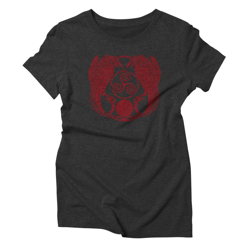 Nine While Nine ~ Red Ravens Logo Women's Triblend T-Shirt by The Dark Whimsy Emporium