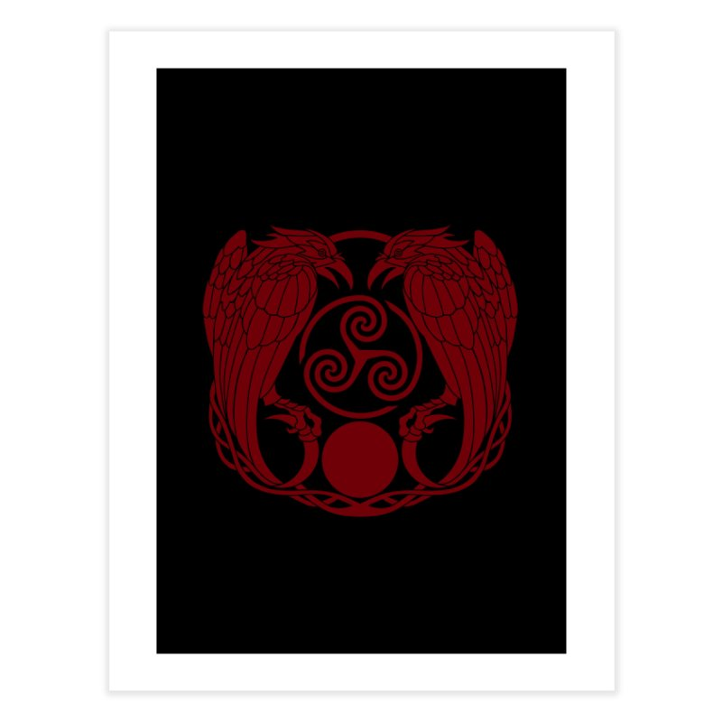 Nine While Nine ~ Red Ravens Logo Home Fine Art Print by The Dark Whimsy Emporium