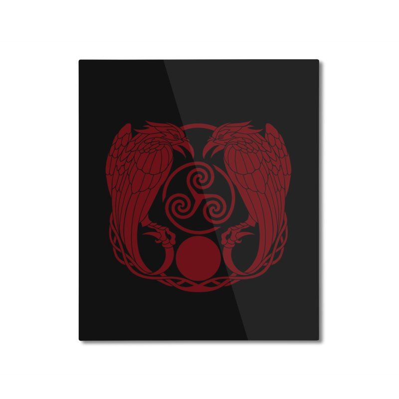 Nine While Nine ~ Red Ravens Logo Home Mounted Aluminum Print by The Dark Whimsy Emporium