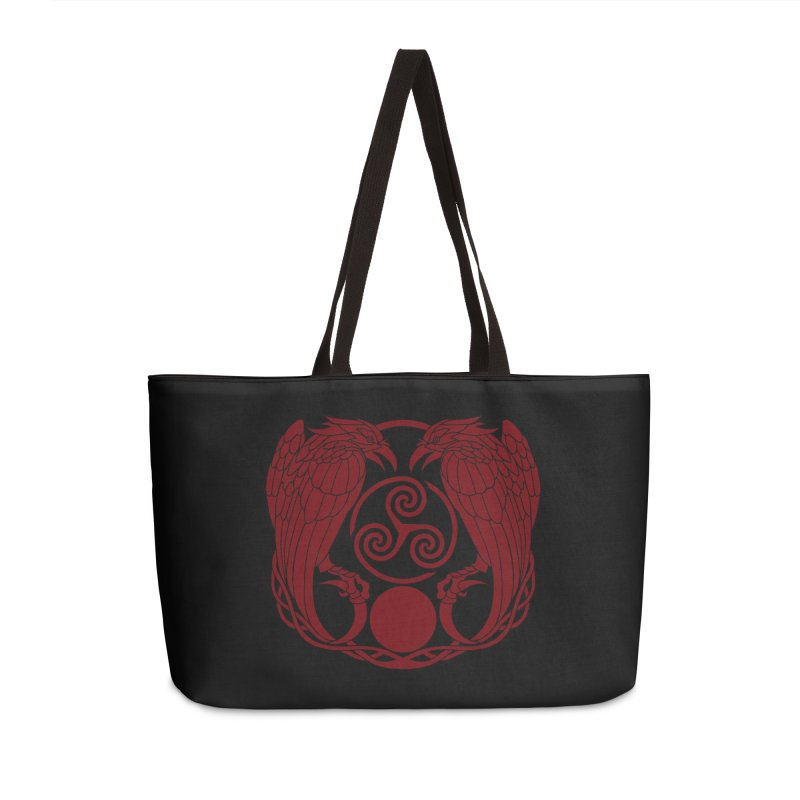 Nine While Nine ~ Red Ravens Logo Accessories Weekender Bag Bag by The Dark Whimsy Emporium