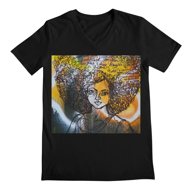 Afro, Roots & Faith Men's V-Neck by TheFunkySpork's Artist Shop