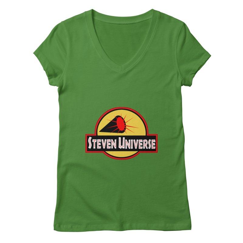 Jurassic Universe Women's V-Neck by TheImaginativeHobbyist's Artist Shop