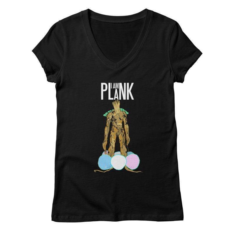 I AM PLANK Women's V-Neck by TheImaginativeHobbyist's Artist Shop