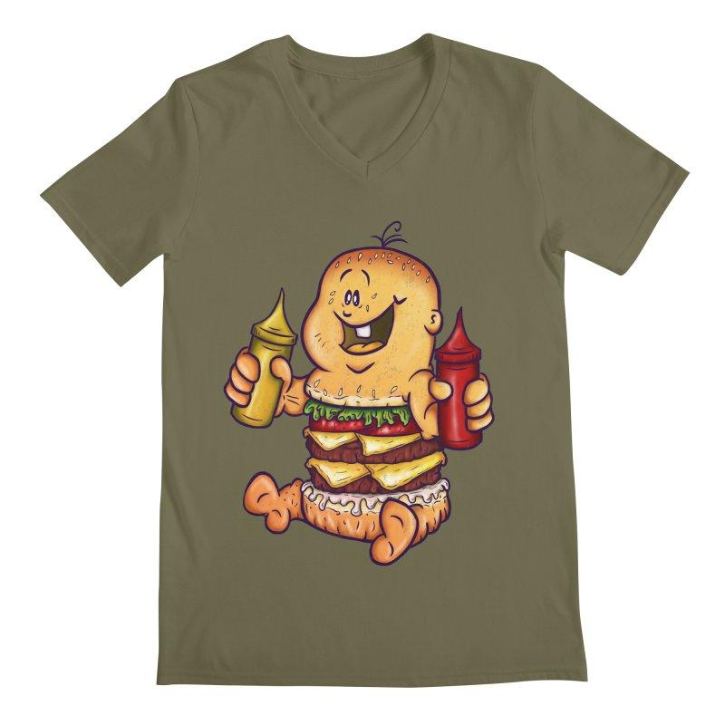 Baby Burger Men's V-Neck by The Last Tsunami's Artist Shop