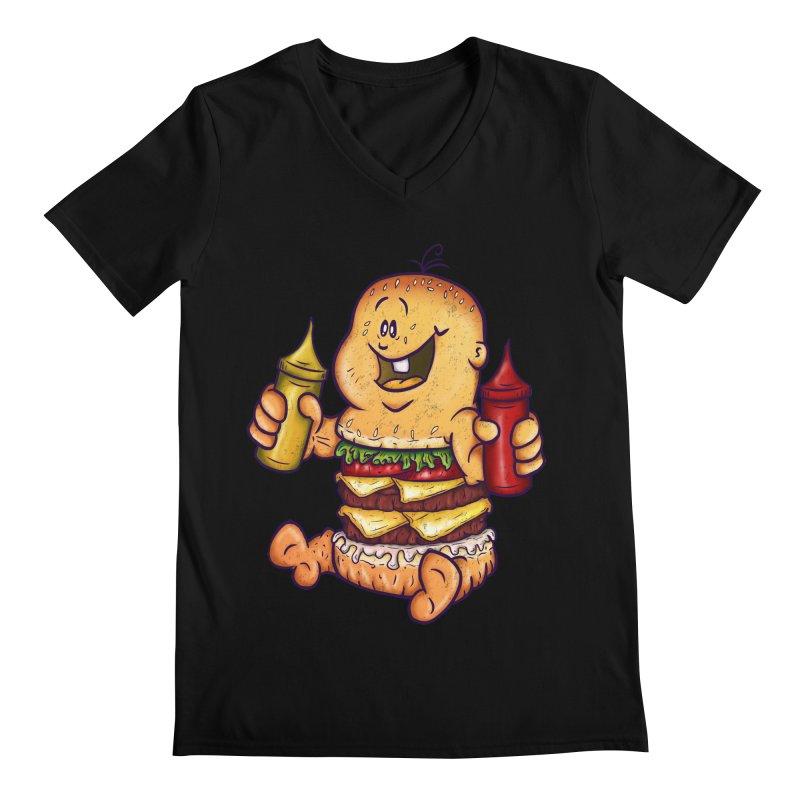 Baby Burger Men's Regular V-Neck by The Last Tsunami's Artist Shop