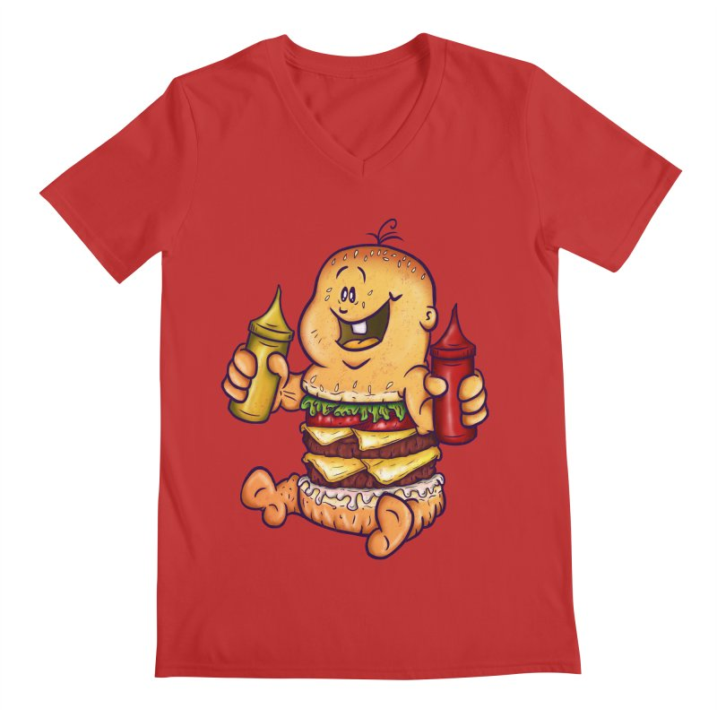 Baby Burger Men's V-Neck by The Last Tsunami's Artist Shop