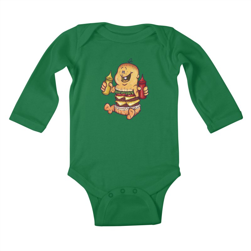 Baby Burger Kids Baby Longsleeve Bodysuit by The Last Tsunami's Artist Shop