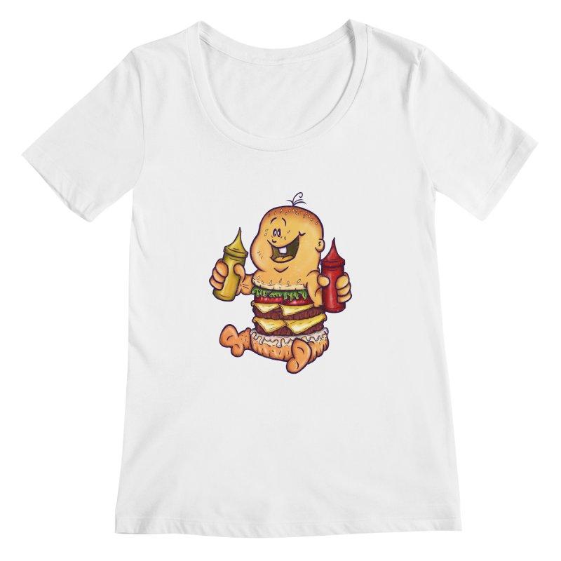Baby Burger Women's Scoopneck by The Last Tsunami's Artist Shop