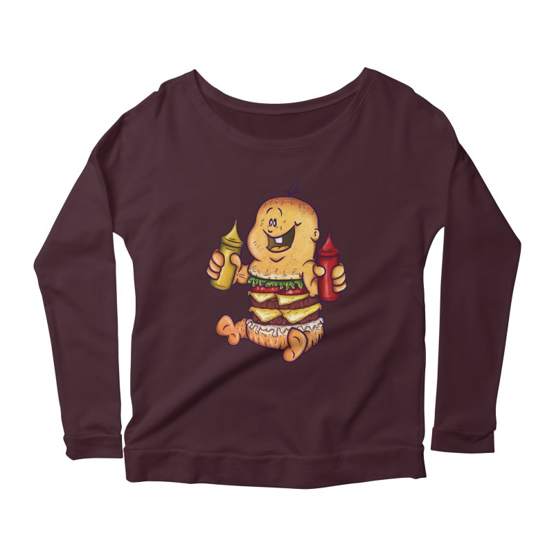 Baby Burger Women's Longsleeve Scoopneck  by The Last Tsunami's Artist Shop