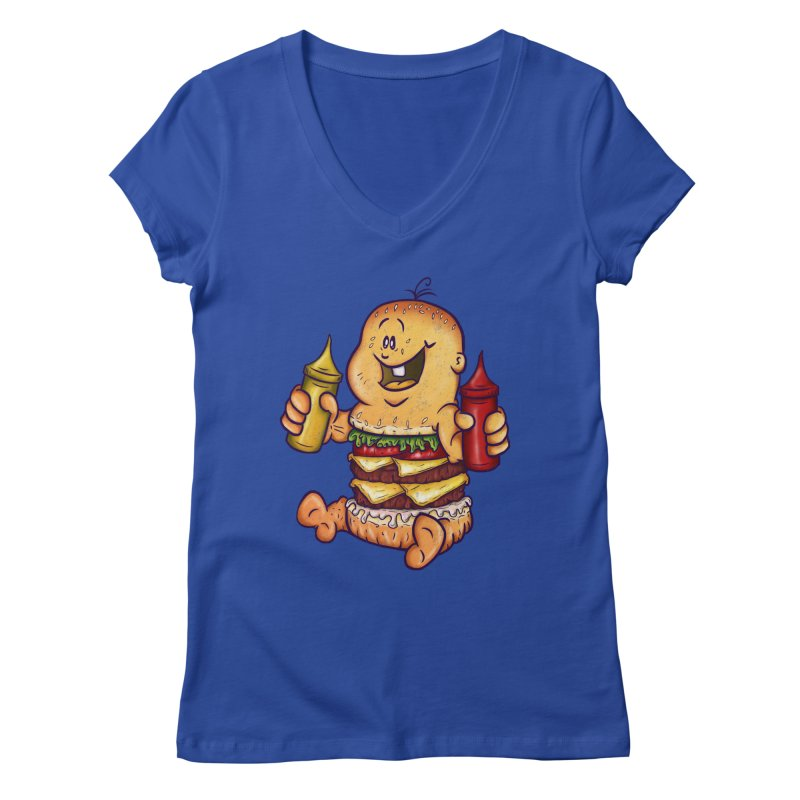 Baby Burger Women's V-Neck by The Last Tsunami's Artist Shop