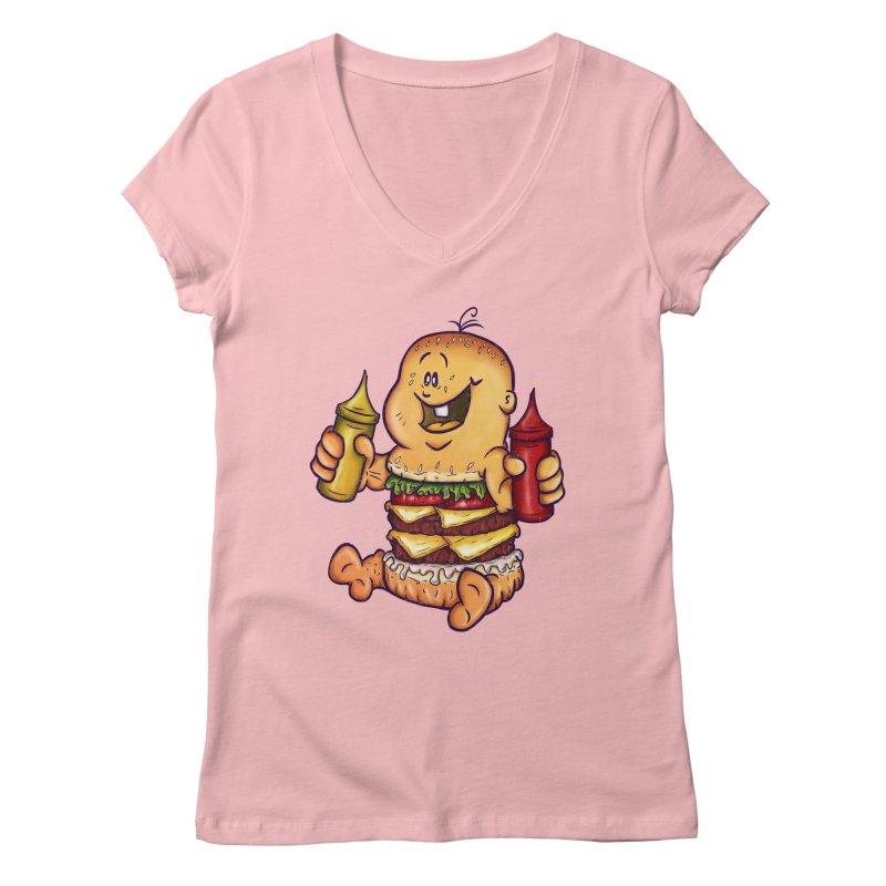 Baby Burger Women's V-Neck by The Last Tsunami's Artist Shop