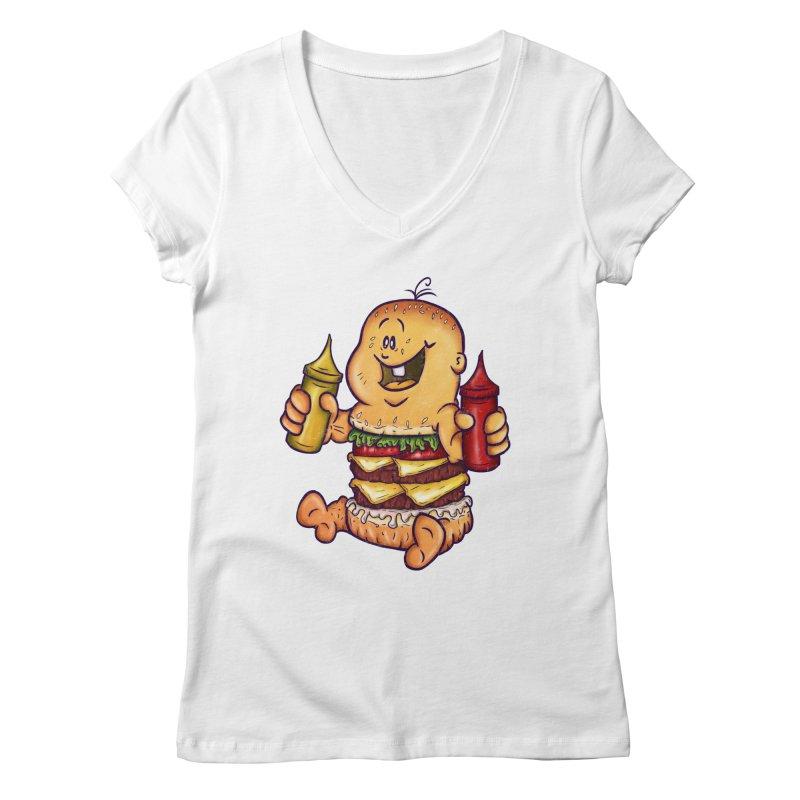 Baby Burger Women's Regular V-Neck by The Last Tsunami's Artist Shop