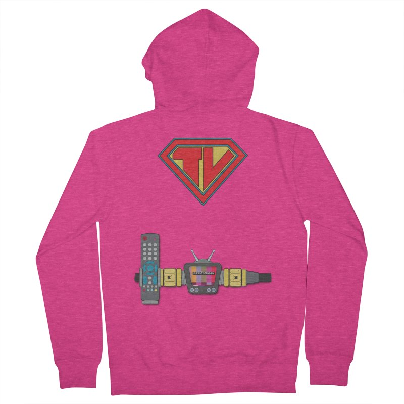 Super TV Man Women's French Terry Zip-Up Hoody by The Last Tsunami's Artist Shop