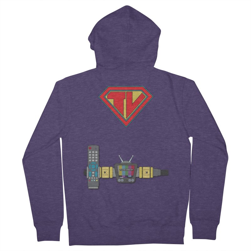 Super TV Man Men's French Terry Zip-Up Hoody by The Last Tsunami's Artist Shop