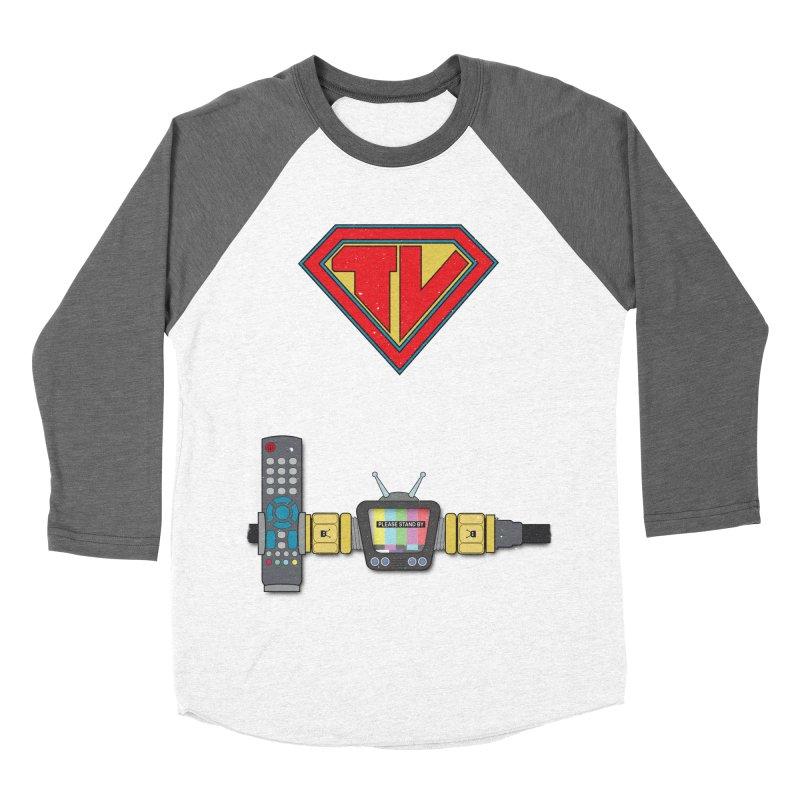 Super TV Man Women's Baseball Triblend Longsleeve T-Shirt by The Last Tsunami's Artist Shop