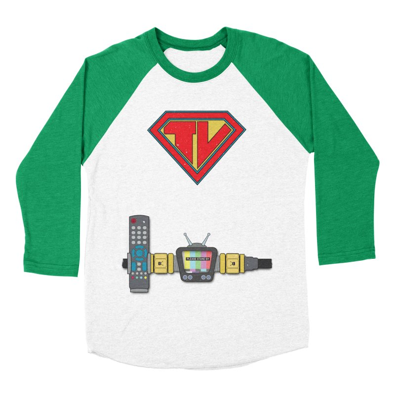 Super TV Man Women's Baseball Triblend Longsleeve T-Shirt by The Last Tsunami's Artist Shop
