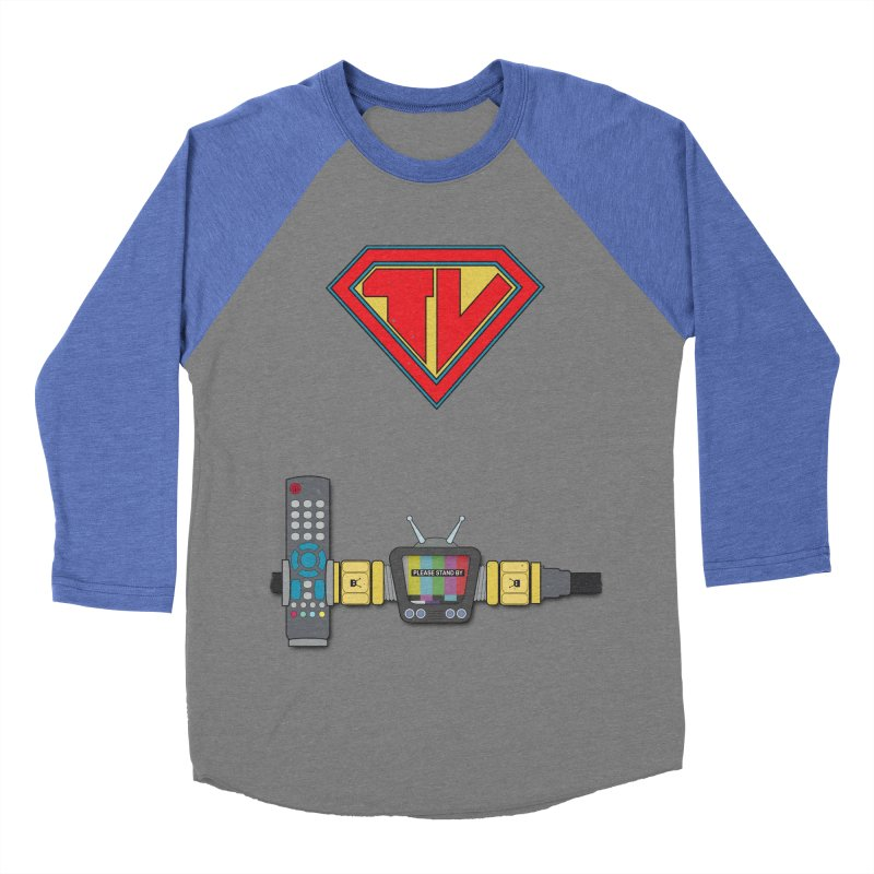 Super TV Man Women's Baseball Triblend T-Shirt by The Last Tsunami's Artist Shop