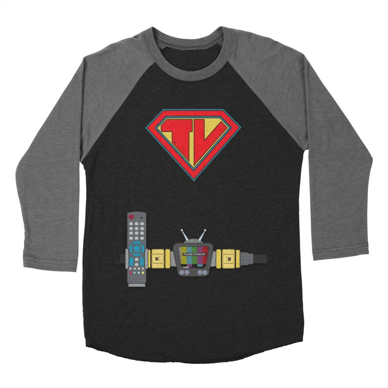 Super TV Man Men's Baseball Triblend Longsleeve T-Shirt by The Last Tsunami's Artist Shop