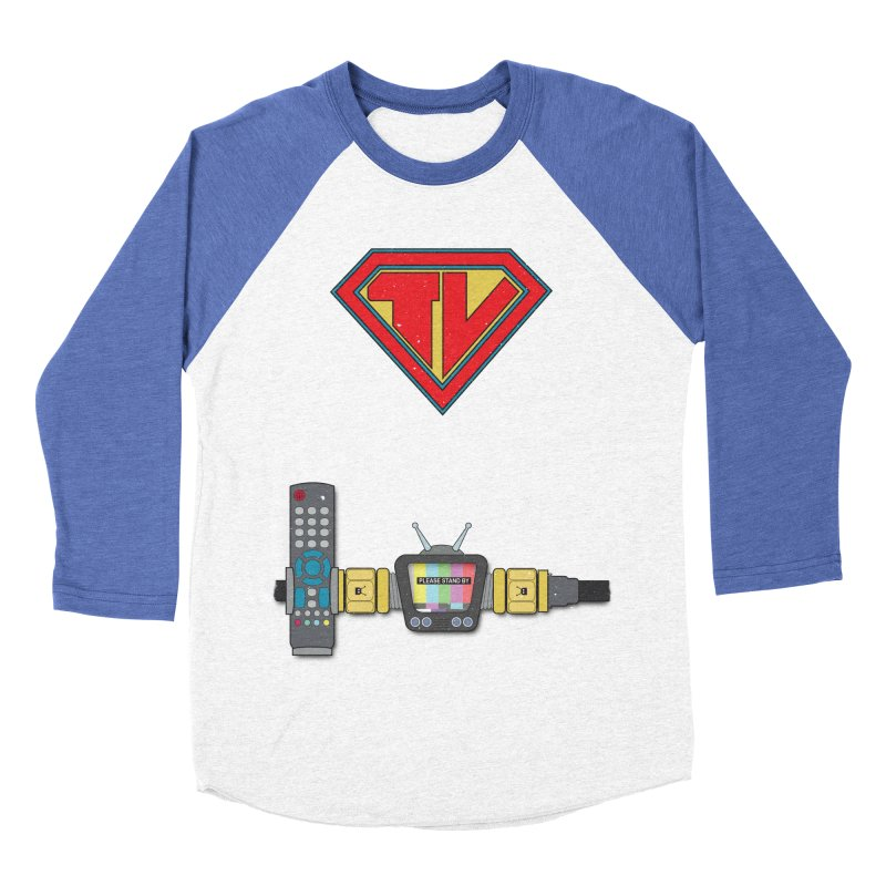 Super TV Man Men's Baseball Triblend T-Shirt by The Last Tsunami's Artist Shop