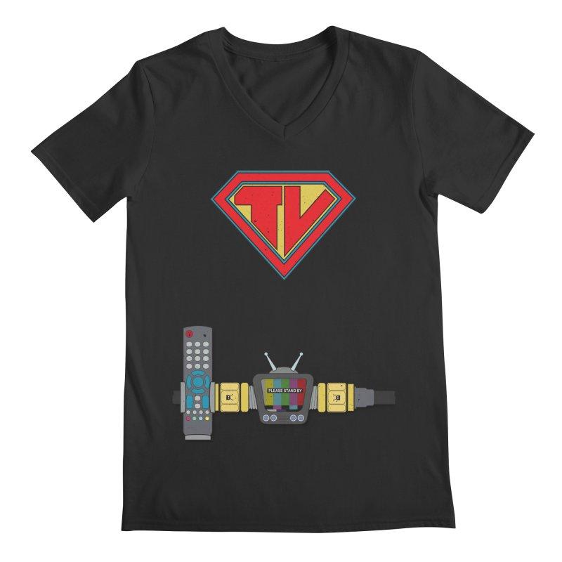 Super TV Man Men's Regular V-Neck by The Last Tsunami's Artist Shop
