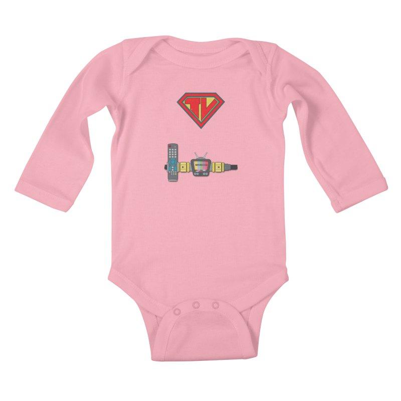 Super TV Man Kids Baby Longsleeve Bodysuit by The Last Tsunami's Artist Shop