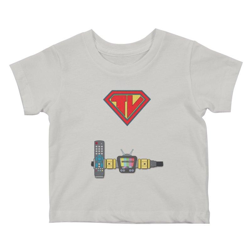 Super TV Man Kids Baby T-Shirt by The Last Tsunami's Artist Shop