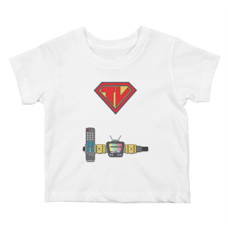 Super TV Man Kids Baby T-Shirt by The Last Tsunami's Artist Shop