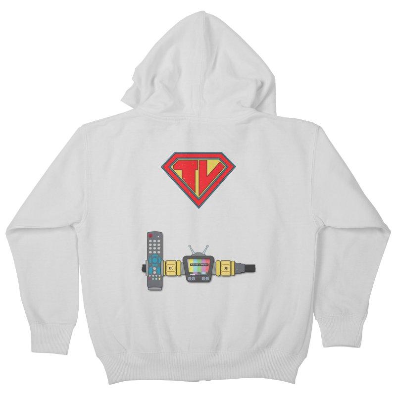 Super TV Man Kids Zip-Up Hoody by The Last Tsunami's Artist Shop